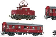 Электровоз E69, 2 пассажирских вагона и платформа