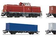 Тепловоз BR212 и три платформы с контейнерами