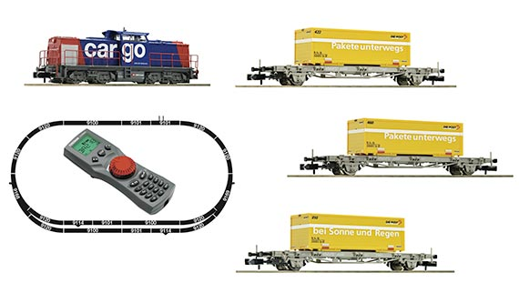 N Тепловоз класс 203 и три платформы с контейнерами